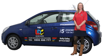 Kelly Culley's driving school car